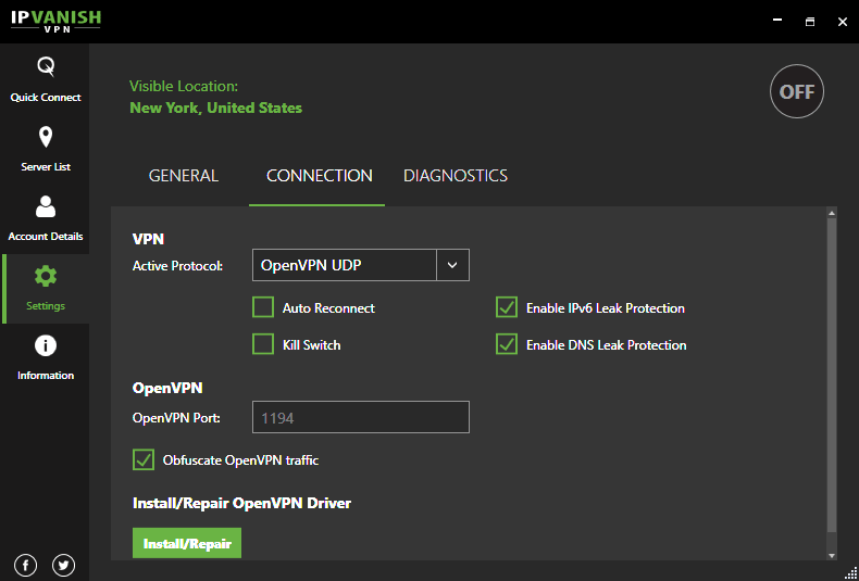 IPVanish software connection settings