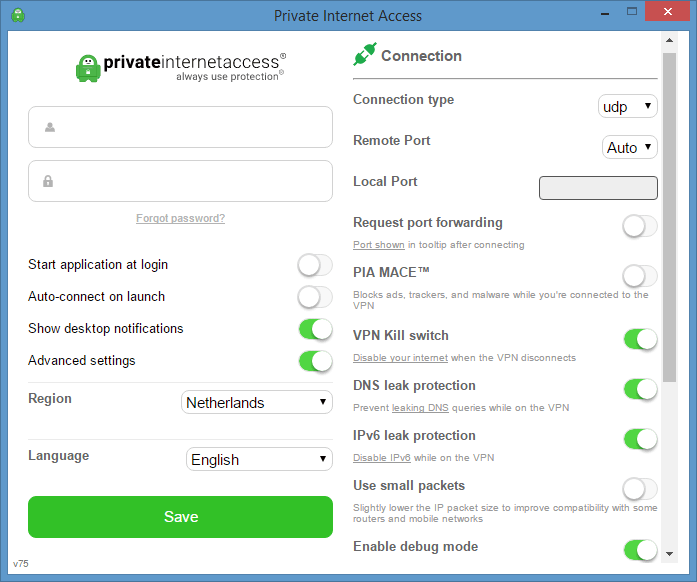 Private Internet Access recommended VPN settings for downloading torrents