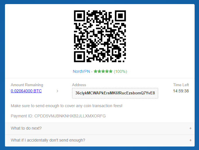 Send bitcoin to the address to pay for NordVPN