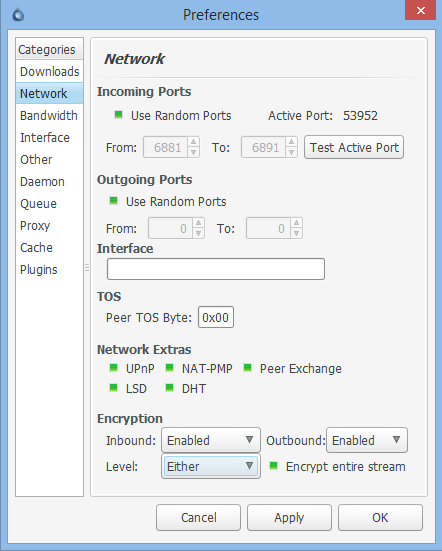 Deluge encryption settings enabled (but not 'Forced')