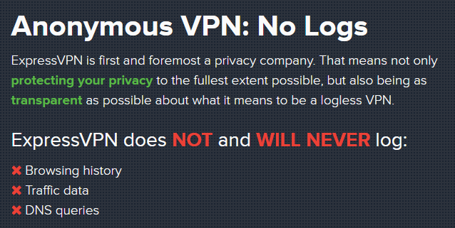 ExpressVPN Logging policy and privacy