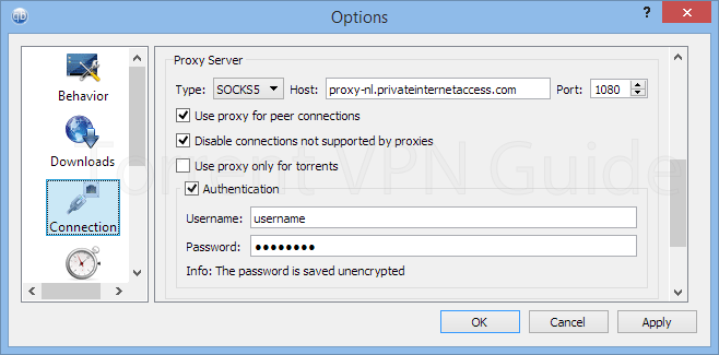 Qbittorrent proxy settings for PIA