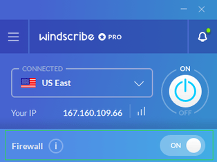 Screenshot of Windscribe's VPN software