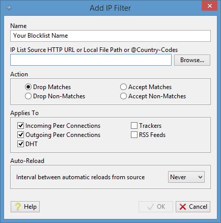 Add an IP filter in Tixati