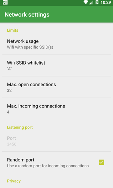 tTorrent network settings