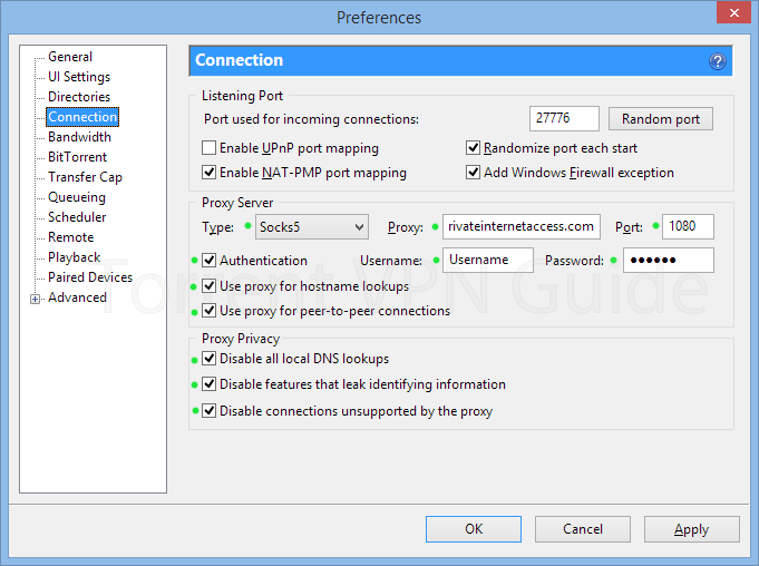 uTorrent proxy settings for Private Internet Access