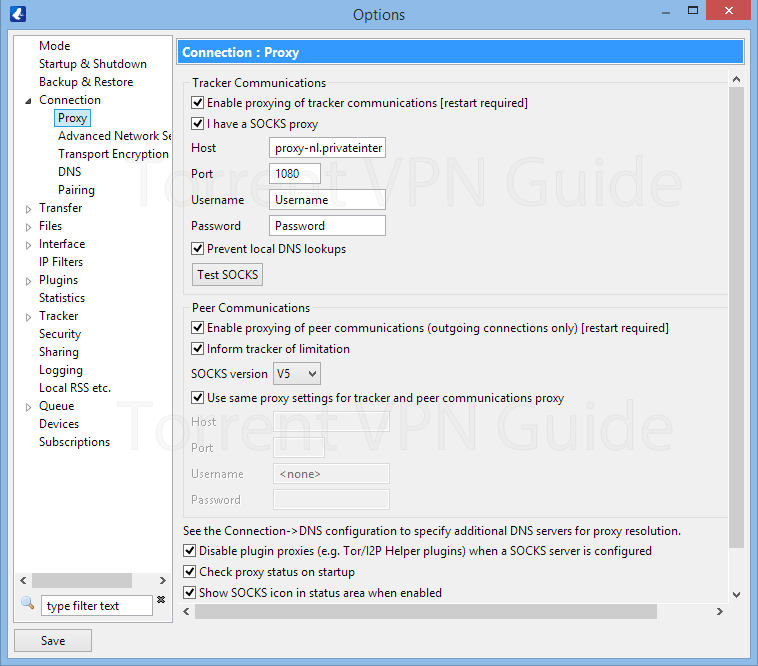 Vuze proxy settings for Private Internet Access