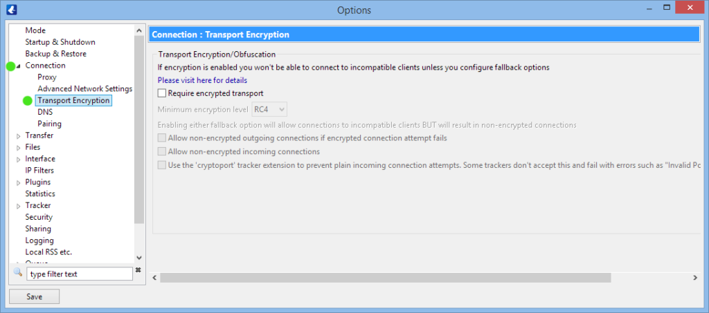 Vuze transport encryption settings