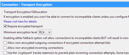 Vuze forced encryption settings