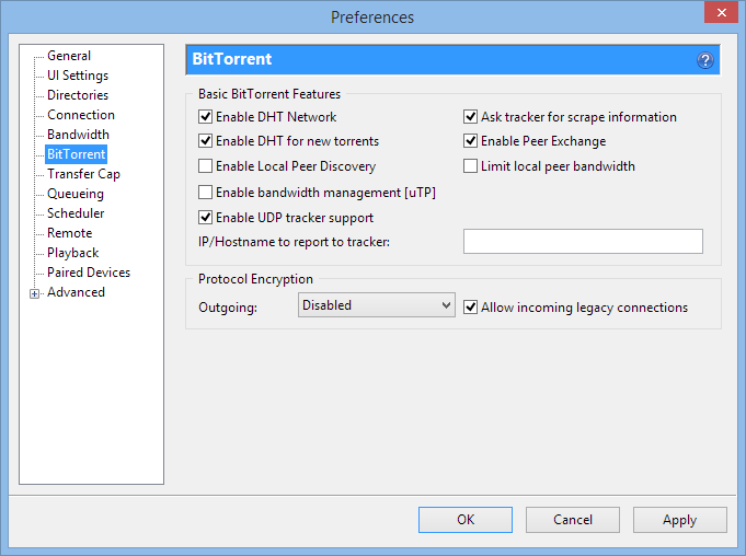 uTorrent Encryption Settings