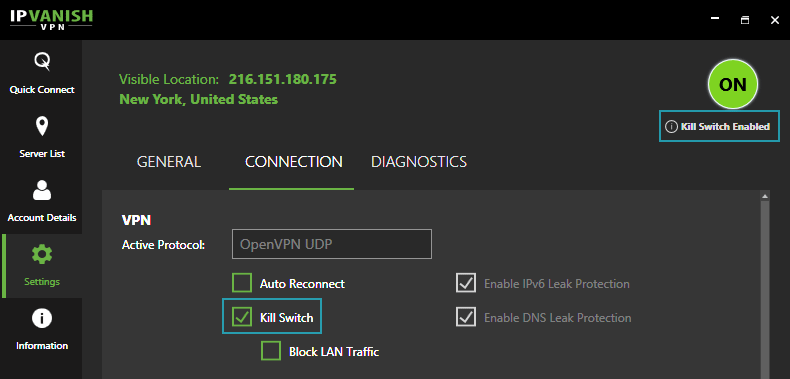 VPN Kill Switch Enabled (IPVanish VPN)