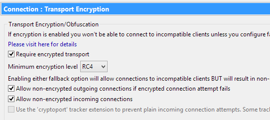 Vuze encryption (optional mode)