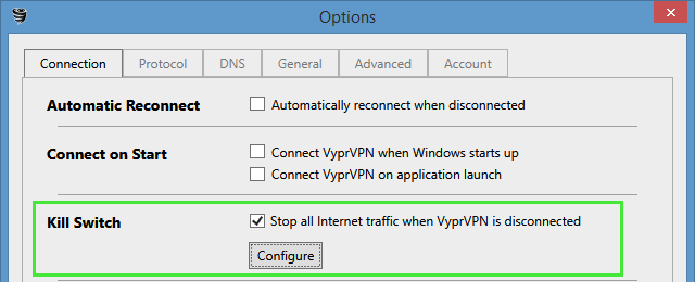 VyprVPN kill-switch options