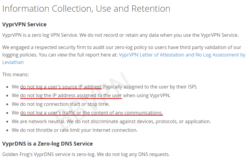 VyprVPN's Logging Policy