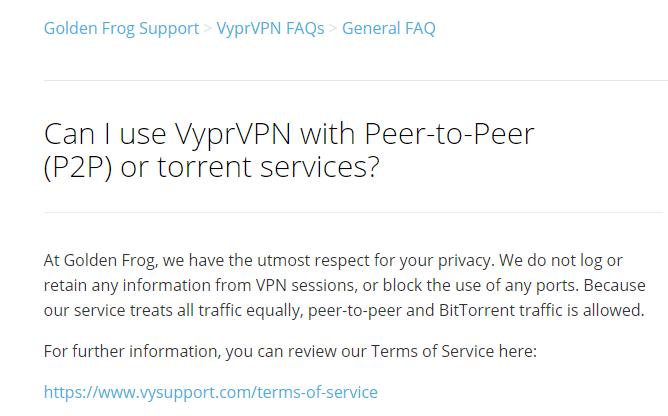 VyprVPN Torrent Policy & Rules