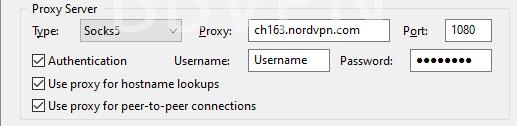 uTorrent proxy settings for NordVPN (Swiss Server)
