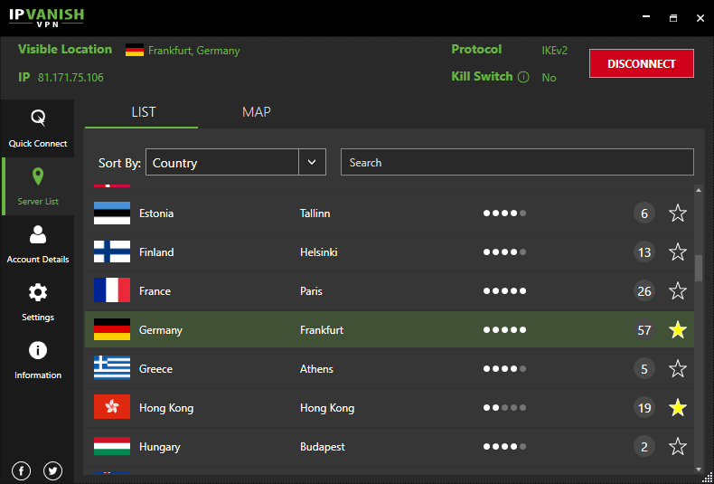 IPVanish Windows App (connected to Germany server location)