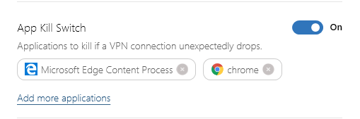 NordVPN's application kill switch