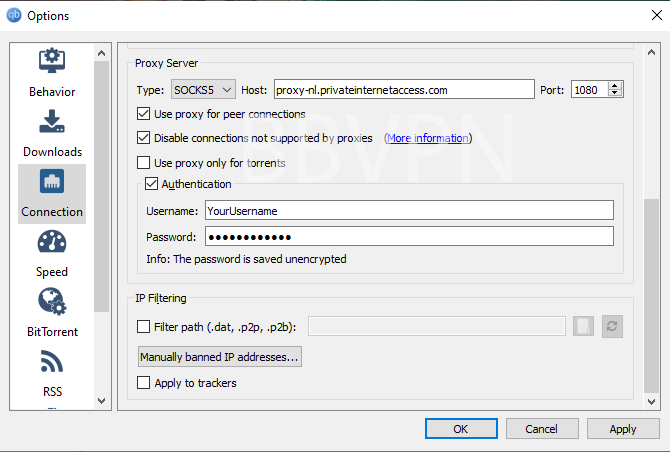 PIA proxy settings in QBittorrent torrent software