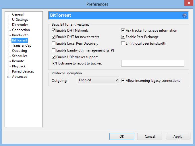 Basic BitTorrent Features Settings in uTorrent