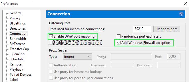 uTorrent connection settings (UPNP)