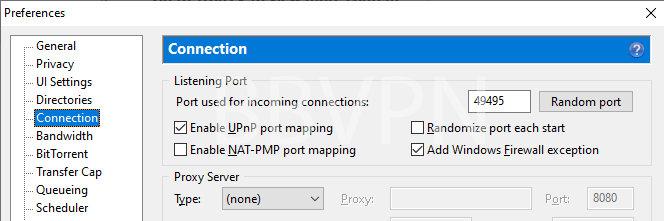 uTorrent connection settings (listening port and UPnP port mapping)