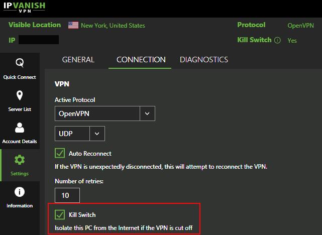 Kill-switch settings: NordVPN, Cyberghost, IPVanish 8