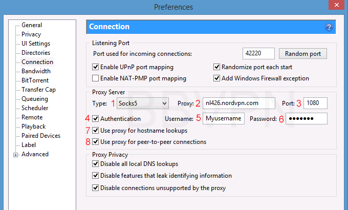 uTorrent proxy settings (pictured with NordVPN SOCKS proxy)