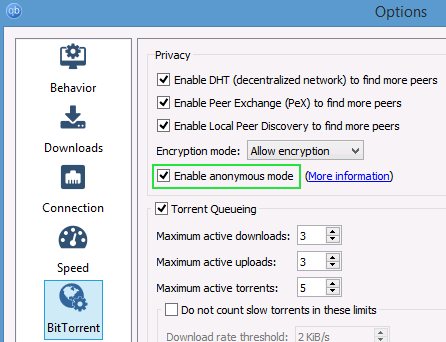Enable Anonymous Mode in QBittorrent