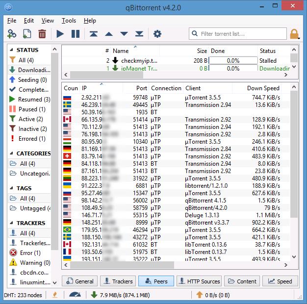 IP addresses of peers shown in QBittorrent