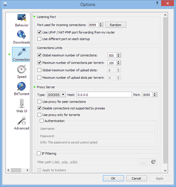 How to setup proxy in QBittorrent: Proxy options menu.