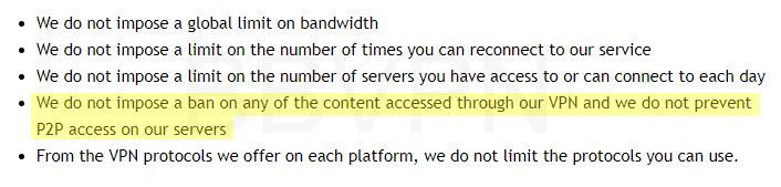 IPVanish's torrent policy (torrents allowed).