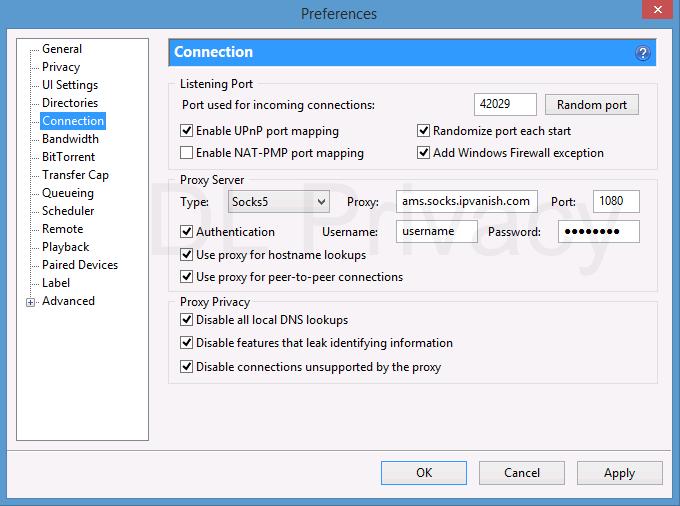 Recommended settings for IPVanish SOCKS5 proxy in uTorrent