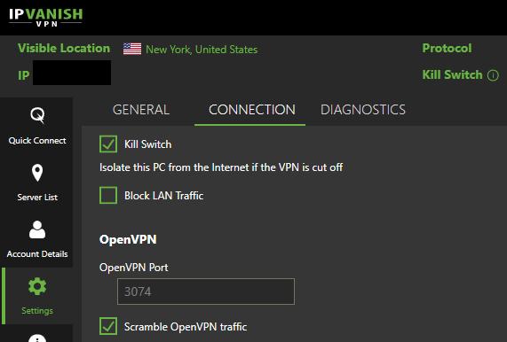 IPVanish kill-switch and scramble obfuscation (windows software)