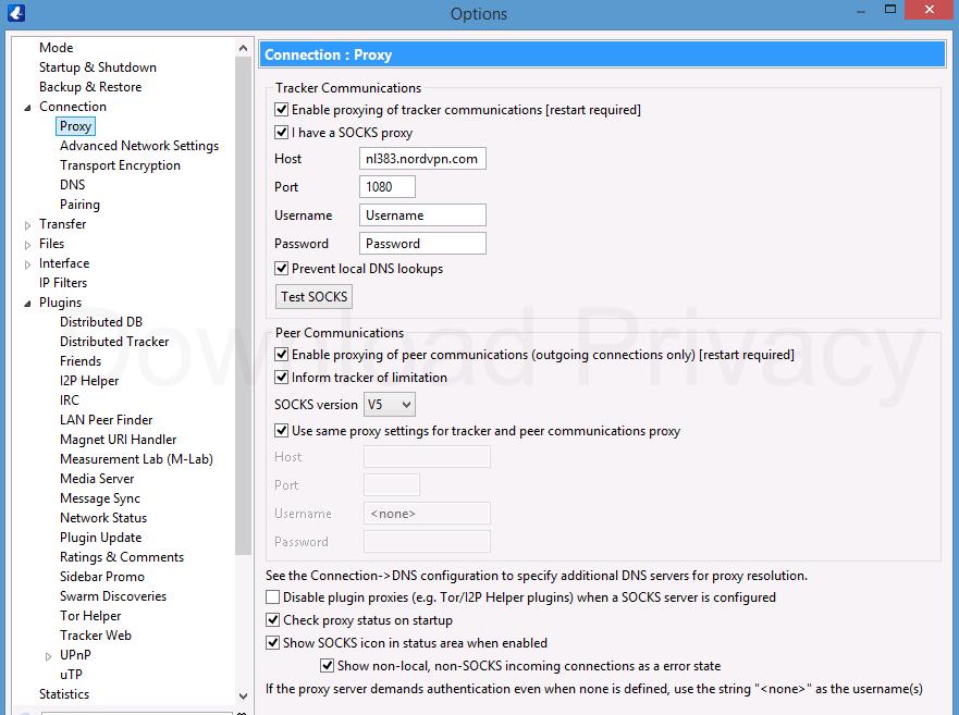 Vuze SOCKS proxy settings (NordVPN)