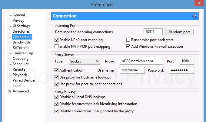 NordVPN proxy settings in uTorrent