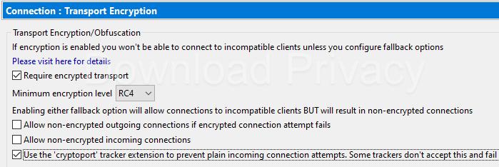 Vuze Encryption settings