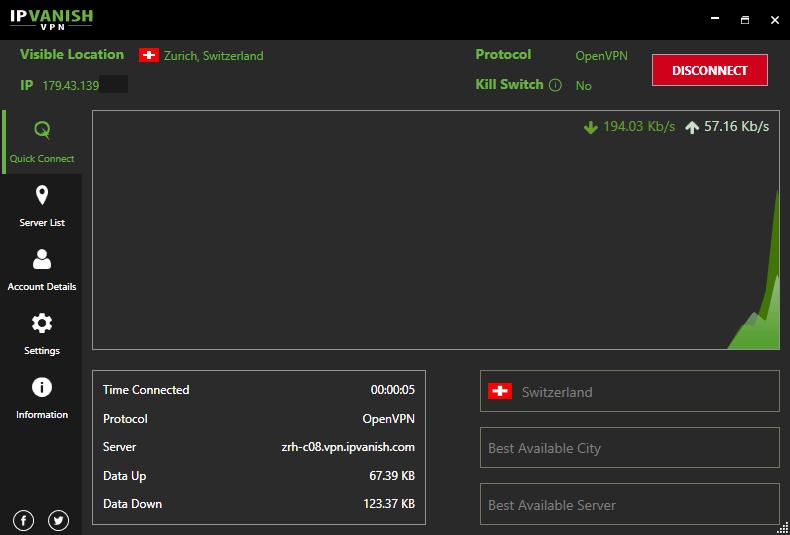 IPVanish VPN connected to Switzerland