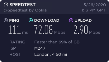 London Speedtest (Private Internet Access)