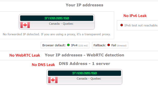 Hide.me IPv6, WebRTC & DNS Leak Test
