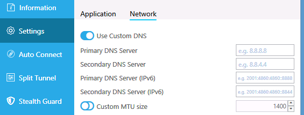 Hide.me DNS settings