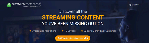 Private Internet Access streaming screenshot
